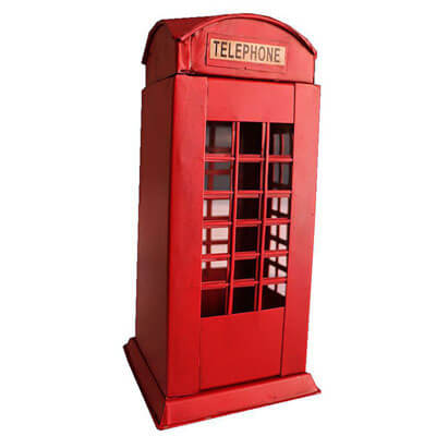 Antique metal london phone booth decor figurine