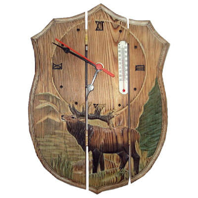 Handcrafted wooden reindeer clock