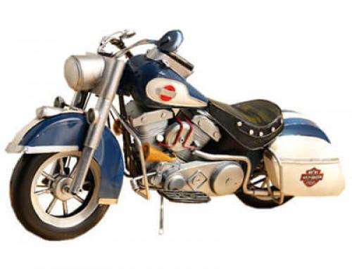 Handmade metal blue motorcycles