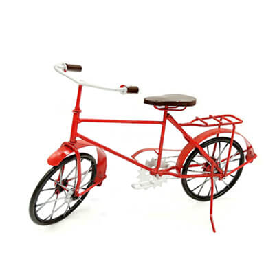 Handmade metal red bicycle