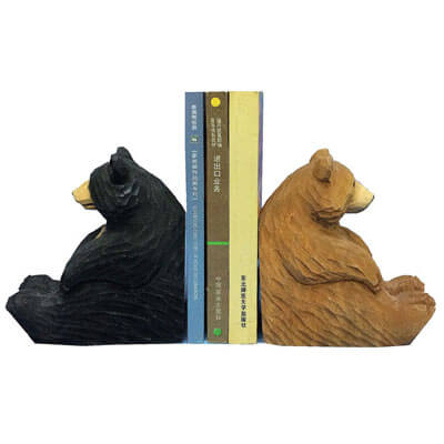 Handmade wood bear bookends