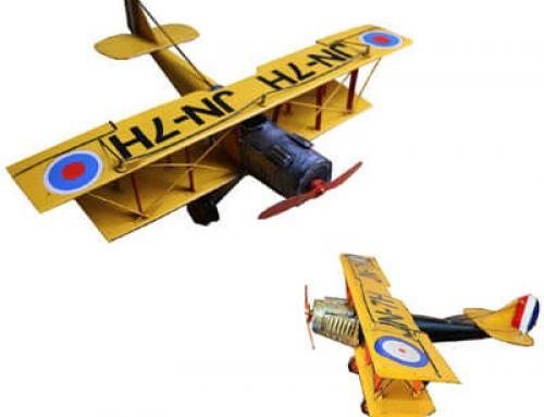 Vintage metal biplane