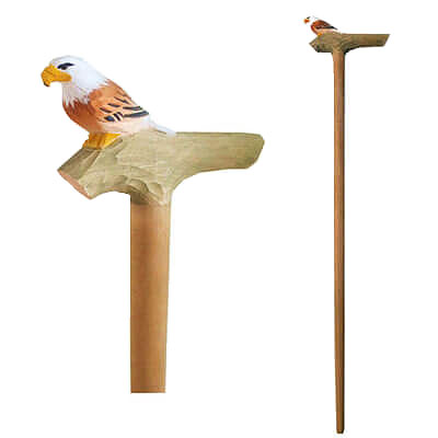 Wooden eagle walking stick