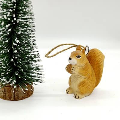 wood squirrel ornament