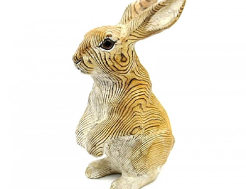 Hand carved wood brown rabbit
