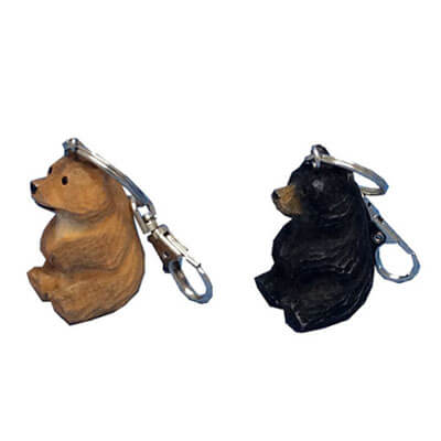 Hand carved wood bear keychains