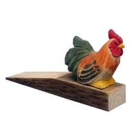 Hand carved wood door stop rooster