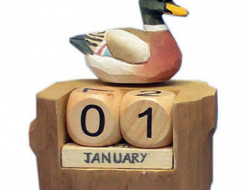 Hand carved wood duck calendar