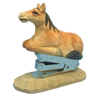 Hand carved wood horse stapler