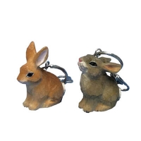 Handcrafted wood keychains rabbit