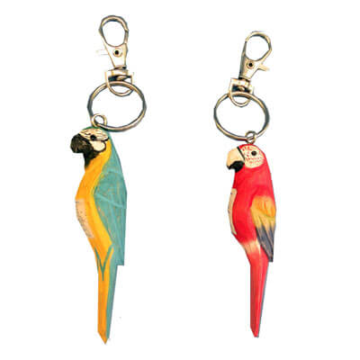 Handcrafted wood parrot keychains