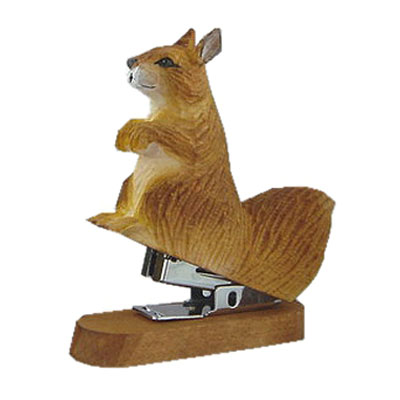 Handcrafted wood squirrel stapler