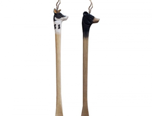 Handcrafted wooden animal shoehorn