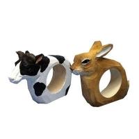 Handmade wood animal napkin rings