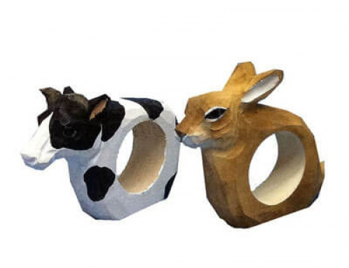 Handmade wood animal napkin rings