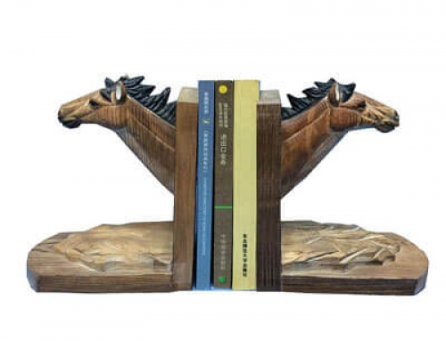 Wood bookends horse