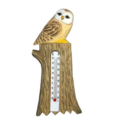 Wood owl thermometer