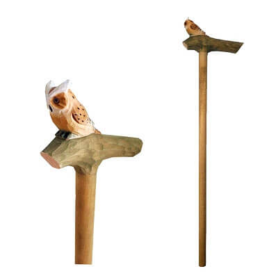 Wood owl walking stick