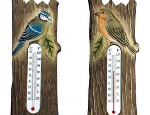 Wooden bird thermometer