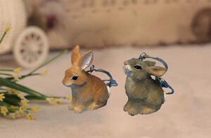 wood rabbit keychain