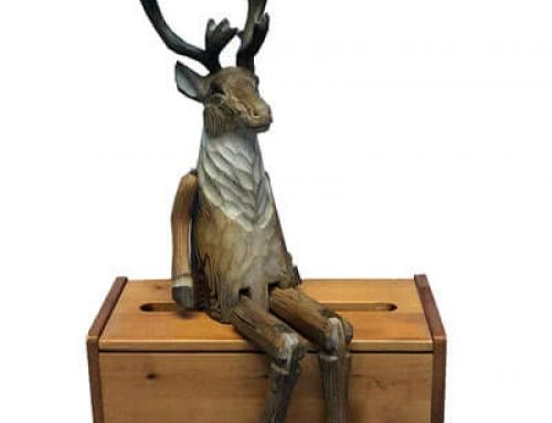 Hand carved wooden reindeer shelf sitter