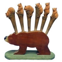 Hand carved wood bear pens