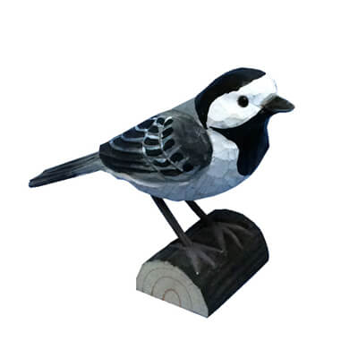 Hand carved wood Pied Wagtail