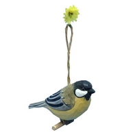 Hand carved wood birds great tit