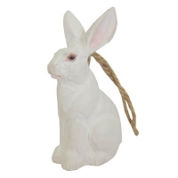 Hand carved wood white rabbit