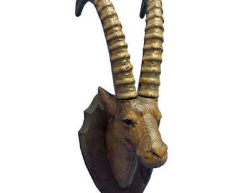 Hand carved wooden ibex head