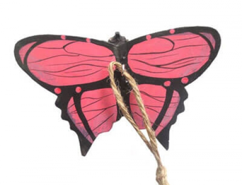 Hand carved wooden butterfly decoration