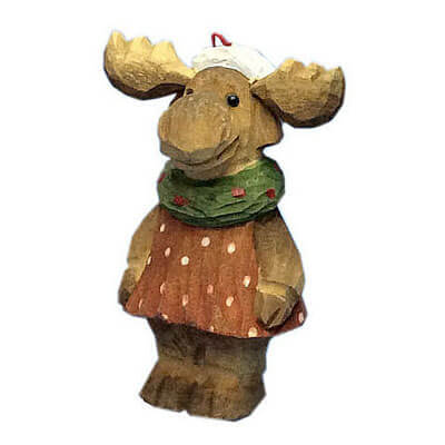 Wood xmas decoration moose girl