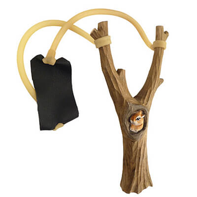 Wooden slingshot squirrel