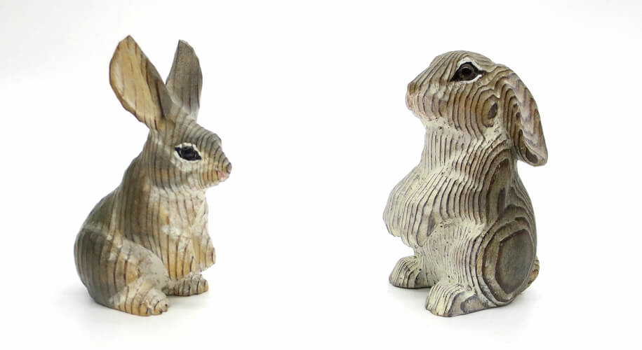 hand carved wooden rabbits