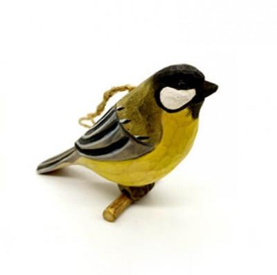 wood Great Tit bird carving