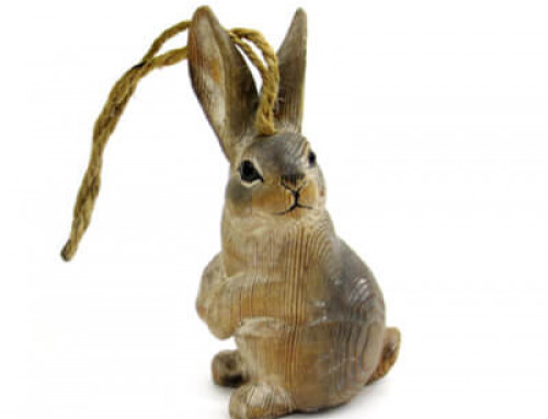 Hand carved wood grey rabbit