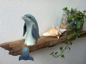 wood dolphin art