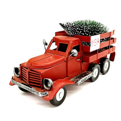 antique metal red truck