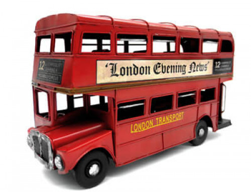 Red Iron Double-decker Bus Model