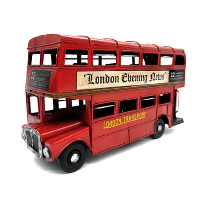 London Red Iron Double-decker Bus Model