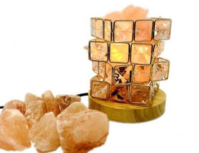 Cube Diamonds Salt Lamp with Wood Base (1)