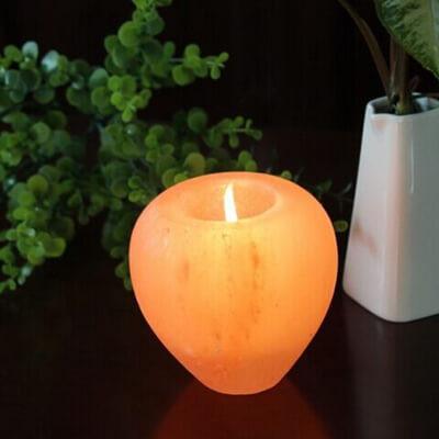 Himalayan Salt Crafted APPLE Shape Candle Holder NEW SHAPE!