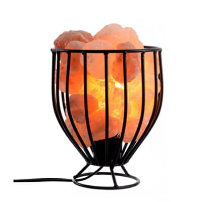 Himalayan Salt Wrought Iron Salt Basket LampHimalayan Salt Wrought Iron Salt Basket Lamp
