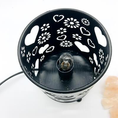 Natural Himalayan Salt Lamp In Cylinder Design Metal Basket
