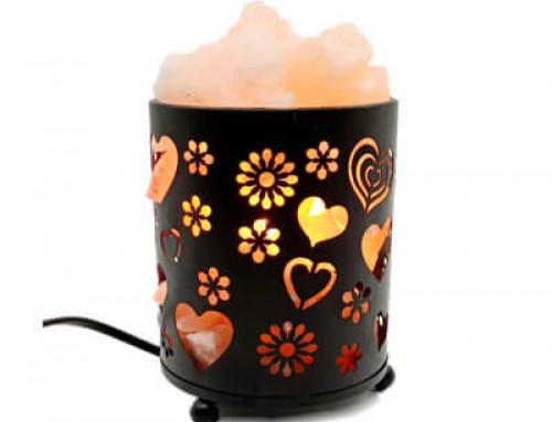 Himalayan Salt Lamp With Salt Chunks Cylinder Design