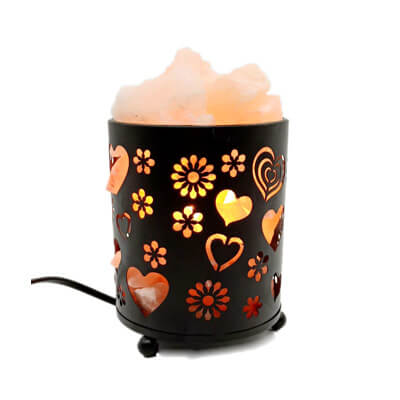 Natural Himalayan Salt Lamp With Salt Chunks In Cylinder Design Metal Basket