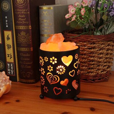Natural Himalayan Salt Lamp With Salt Chunks In Metal Basket