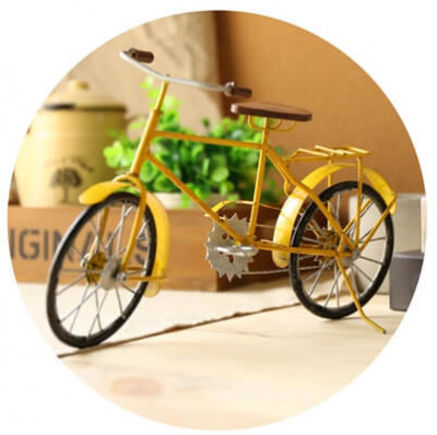 Vintage Metal Bicycle Decor Yellow