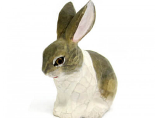 Hand Carved Wood Rabbit Bunny