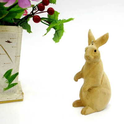 wooden rabbit decor
